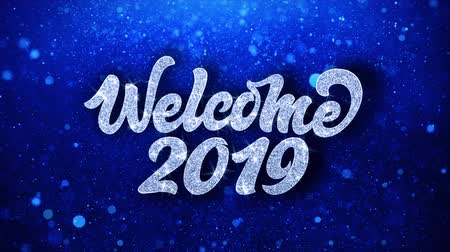 kalendarz : Welcome 2019 Greetings card Abstract Blinking Sparkle Glitter Particle Looped Background. Gift, card, Invitation, Celebration, Events, Message, Holiday Festival Wideo