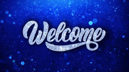 ação de graças : Welcome Blue Text Greetings card Abstract Blinking Sparkle Glitter Particle Looped Background. Gift, card, Invitation, Celebration, Events, Message, Holiday Festival Stock Footage