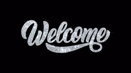calligraphic : Welcome Blinking Text Greetings card Abstract Blinking Sparkle Glitter Particle Looped Background. Gift, card, Invitation, Celebration, Events, Message, Holiday Festival Stock Footage