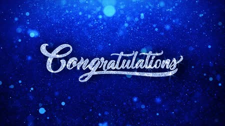tél : Congratulations Blue Greetings card Abstract Blinking Sparkle Glitter Particle Looped Background. Gift, card, Invitation, Celebration, Events, Message, Holiday Festival