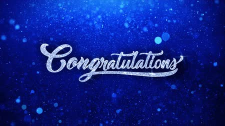 louvor : Congratulations Blue Greetings card Abstract Blinking Sparkle Glitter Particle Looped Background. Gift, card, Invitation, Celebration, Events, Message, Holiday Festival