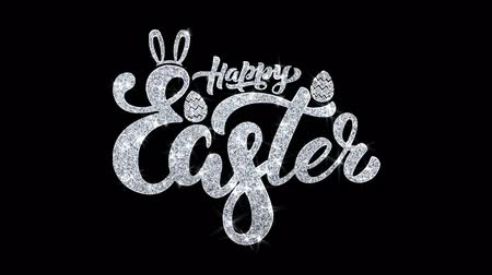 casca de ovo : Happy Easter Blinking Text Greetings card Abstract Blinking Sparkle Glitter Particle Looped Background. Gift, card, Invitation, Celebration, Events, Message, Holiday Festival