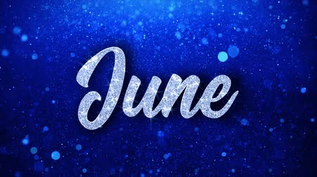 uitnodiging verjaardag : Juni Blue Text Greetings-kaart Abstracte knipperende Sparkle Glitter deeltje lus achtergrond. Geschenk, kaart, uitnodiging, feest, evenementen, bericht, vakantiefestival