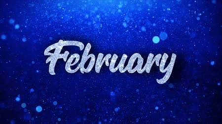 mángorlógép : February Blue Text Greetings card Abstract Blinking Sparkle Glitter Particle Looped Background. Gift, card, Invitation, Celebration, Events, Message, Holiday Festival
