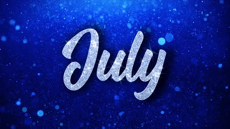 juni : Juli Blue Text Greetings-kaart Abstracte knipperende Sparkle Glitter deeltje lus achtergrond. Geschenk, kaart, uitnodiging, feest, evenementen, bericht, vakantiefestival