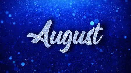 sierpien : August Blue Text Greetings card Abstract Blinking Sparkle Glitter Particle Looped Background. Gift, card, Invitation, Celebration, Events, Message, Holiday Festival