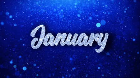 junho : January Blue Text Greetings card Abstract Blinking Sparkle Glitter Particle Looped Background. Gift, card, Invitation, Celebration, Events, Message, Holiday Festival