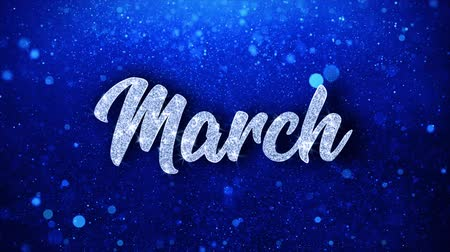 mángorlógép : March Blue Text Greetings card Abstract Blinking Sparkle Glitter Particle Looped Background. Gift, card, Invitation, Celebration, Events, Message, Holiday Festival Stock mozgókép