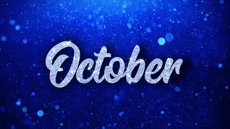 zondag : Oktober Blue Text Greetings-kaart Abstracte knipperende Sparkle Glitter deeltje lus achtergrond. Geschenk, kaart, uitnodiging, feest, evenementen, bericht, vakantiefestival