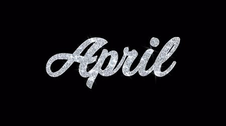 semanal : April Blinking Text Greetings card Abstract Blinking Sparkle Glitter Particle Looped Background. Gift, card, Invitation, Celebration, Events, Message, Holiday Festival