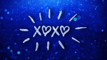 объятие : xoxo Blue Text Greetings card Abstract Blinking Sparkle Glitter Particle Looped Background. Gift, card, Invitation, Celebration, Events, Message, Holiday Festival Стоковые видеозаписи