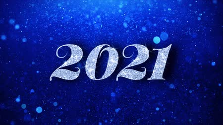 ano novo chinês : 2021 Happy New Year Blue Text Greetings card Abstract Blinking Sparkle Glitter Particle Looped Background. Gift, card, Invitation, Celebration, Events, Message, Holiday Festival Vídeos