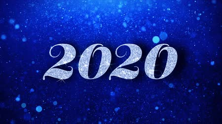 janeiro : 2020 Happy New Year Blue Text Greetings card Abstract Blinking Sparkle Glitter Particle Looped Background. Gift, card, Invitation, Celebration, Events, Message, Holiday Festival