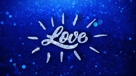 я тебя люблю : Love Blue Text Greetings card Abstract Blinking Sparkle Glitter Particle Looped Background. Gift, card, Invitation, Celebration, Events, Message, Holiday Festival