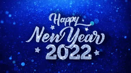 축 하 하 : Hppy New Year 2022 Blue Text Greetings card Abstract Blinking Sparkle Glitter Particle Looped Background. Gift, card, Invitation, Celebration, Events, Message, Holiday Festival