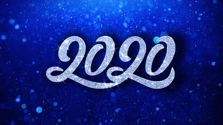 end of year : 2020 Happy New Year Blue Text Greetings card Abstract Blinking Sparkle Glitter Particle Looped Background. Gift, card, Invitation, Celebration, Events, Message, Holiday Festival