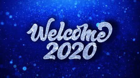 feliz ano novo : Welcome 2020 Blue Text Greetings card Abstract Blinking Sparkle Glitter Particle Looped Background. Gift, card, Invitation, Celebration, Events, Message, Holiday Festival