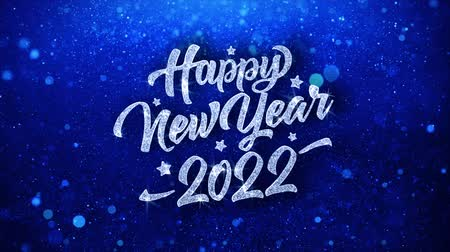 dilek : Happy New Year 2022 Blue Text Greetings card Abstract Blinking Sparkle Glitter Particle Looped Background. Gift, card, Invitation, Celebration, Events, Message, Holiday Festival