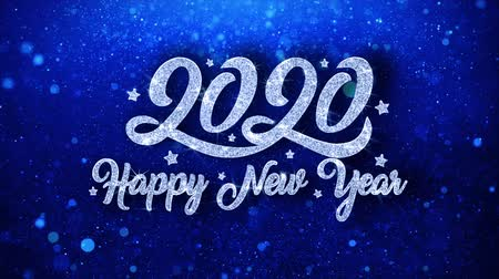 feliz : 2020 Happy New Year Blue Text Greetings card Abstract Blinking Sparkle Glitter Particle Looped Background. Gift, card, Invitation, Celebration, Events, Message, Holiday Festival