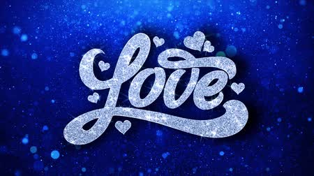 precisão : Love Blue Text Greetings card Abstract Blinking Sparkle Glitter Particle Looped Background. Gift, card, Invitation, Celebration, Events, Message, Holiday Festival