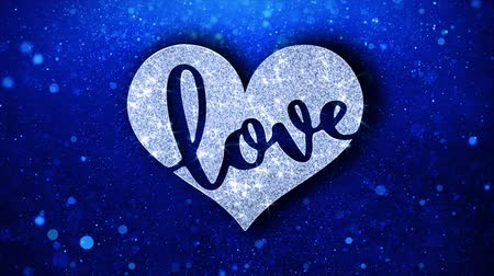 eu : Love Heart Blue Text Greetings card Abstract Blinking Sparkle Glitter Particle Looped Background. Gift, card, Invitation, Celebration, Events, Message, Holiday Festival