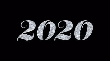 desejando : 2020 Happy New Year Blinking Text Greetings card Abstract Blinking Sparkle Glitter Particle Looped Background. Gift, card, Invitation, Celebration, Events, Message, Holiday Festival