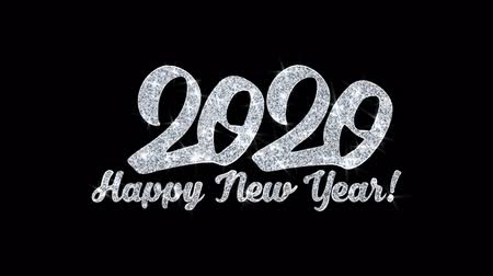 carte voeux : 2020 Happy New Year Clignotant Texte Carte De Voeux Abstrait Clignotant Sparkle Glitter Particle Looped Background. Cadeau, carte, invitation, célébration, événements, message, festival de vacances