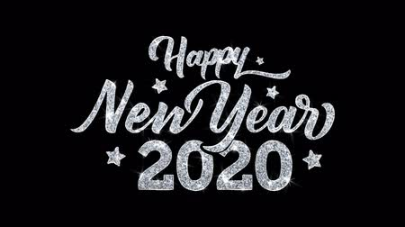 январь : Happy New Year 2020 Blinking Text Greetings card Abstract Blinking Sparkle Glitter Particle Looped Background. Gift, card, Invitation, Celebration, Events, Message, Holiday Festival