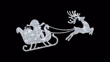 cerf : Ornement de Noël Renne Volant Saut Icône Symbole Abstrait Clignotant Sparkle Glitter Particle Looped Background.