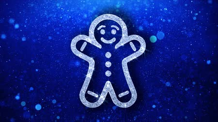 świety mikołaj : Christmas Gingerbread Ornament Man Element Icon Symbol Abstract Blinking Sparkle Glitter Particle Looped Background.