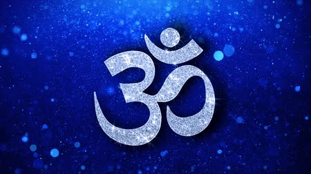 karma yoga : Om or Aum Shiva Element Icon Symbol Abstract Blinking Sparkle Glitter Particle Looped Background. Gift, card, Events, Message, Holiday.