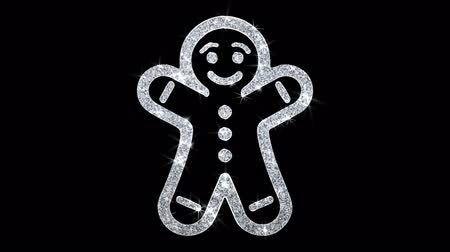 adwent : Christmas Gingerbread Ornament Man Element Icon Symbol Abstract Blinking Sparkle Glitter Particle Looped Background.