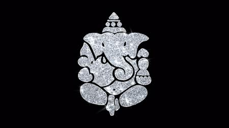 ganesha : Diwali Lord Ganesh Element Icon Symbol Abstract Blinking Sparkle Glitter Particle Looped Background. Gift, card, Events, Message, Holiday.