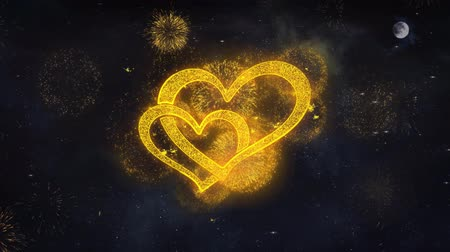 necessidade : Hearts Text Typography Reveal From Golden Firework Crackers Particles Night Sky 4k Background. Greeting card, Celebration, Party, Invitation, Gift, Event, Message, Holiday, Wish, Festival