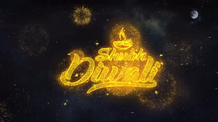 diótörő : Happy Shubh Diwali Text Typography Reveal From Golden Firework Crackers Particles Night Sky 4k Background. Greeting card, Celebration, Party, Invitation, Gift, Event, Message, Holiday, Wish, Festival