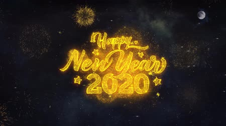 축 하 하 : Happy New Year 2020 Text Typography Reveal From Golden Firework Crackers Particles Night Sky 4k Background. Greeting card, Celebration, Party, Invitation, Gift, Event, Message, Holiday, Wish, Festival