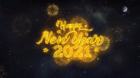 январь : Happy New Year 2021 Text Typography Reveal From Golden Firework Crackers Particles Night Sky 4k Background. Greeting card, Celebration, Party, Invitation, Gift, Event, Message, Holiday, Wish, Festival Стоковые видеозаписи