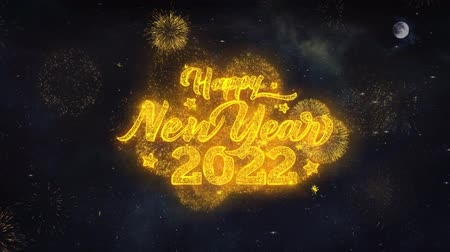 diótörő : Happy New Year 2022 Text Typography Reveal From Golden Firework Crackers Particles Night Sky 4k Background. Greeting card, Celebration, Party, Invitation, Gift, Event, Message, Holiday, Wish, Festival