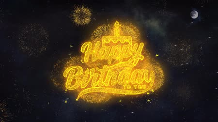si přeje : Happy Birthday to you Text Typography Reveal From Golden Firework Crackers Particles Night Sky 4k Background. Greeting card, Celebration, Party, Invitation, Gift, Event, Message, Wish, Festival