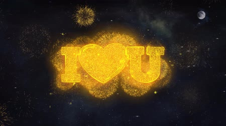 eu : I Heart You Text Typography Reveal From Golden Firework Crackers Particles Night Sky 4k Background. Greeting card, Celebration, Party, Invitation, Gift, Event, Message, Holiday, Wish, Festival