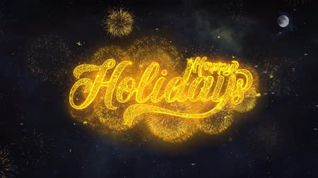 ação de graças : Happy Holidays Text Typography Reveal From Golden Firework Crackers Particles Night Sky 4k Background. Greeting card, Celebration, Party, Invitation, Gift, Event, Message, Holiday, Wish, Festival Stock Footage