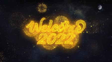 diótörő : Welcome 2022 Text Typography Reveal From Golden Firework Crackers Particles Night Sky 4k Background. Greeting card, Celebration, Party, Invitation, Gift, Event, Message, Holiday, Wish, Festival