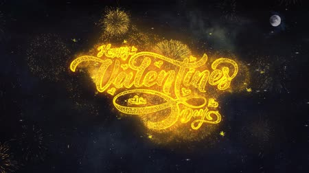 я тебя люблю : Happy Valentine Day Text Typography Reveal From Golden Firework Crackers Particles Night Sky 4k Background. Greeting card, Celebration, Party, Invitation, Gift, Event, Message, Holiday, Wish, Festival