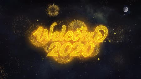 일월 : Welcome 2020 Text Typography Reveal From Golden Firework Crackers Particles Night Sky 4k Background. Greeting card, Celebration, Party, Invitation, Gift, Event, Message, Holiday, Wish, Festival 무비클립