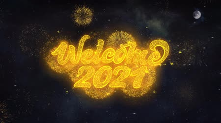 일월 : Welcome 2021 Text Typography Reveal From Golden Firework Crackers Particles Night Sky 4k Background. Greeting card, Celebration, Party, Invitation, Gift, Event, Message, Holiday, Wish, Festival