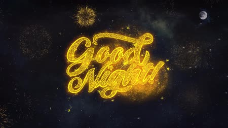 dětinský : Good Night Text Typography Reveal From Golden Firework Crackers Particles Night Sky 4k Background. Greeting card, Celebration, Party, Invitation, Gift, Event, Message, Holiday, Wish, Festival