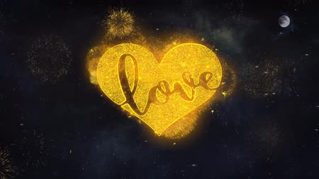 diótörő : Valentine Love Heart Text Typography Reveal From Golden Firework Crackers Particles Night Sky 4k Background. Greeting card, Celebration, Party, Invitation, Gift, Event, Wish, Festival Stock mozgókép