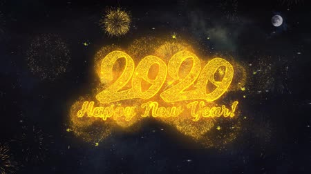 end of year : 2020 Happy New Year Text Typography Reveal From Golden Firework Crackers Particles Night Sky 4k Background. Greeting card, Celebration, Party, Invitation, Gift, Event, Message, Holiday, Wish, Festival Stock Footage