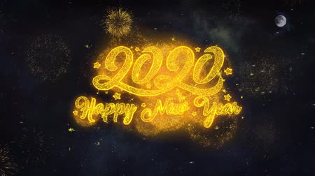 janeiro : 2020 Happy New Year Text Typography Reveal From Golden Firework Crackers Particles Night Sky 4k Background. Greeting card, Celebration, Party, Invitation, Gift, Event, Message, Holiday, Wish, Festival Vídeos