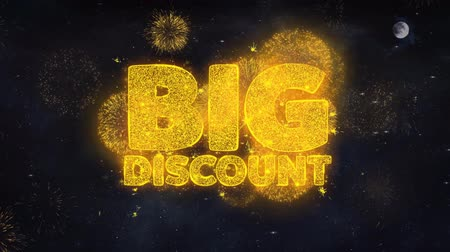 huge sale : Big Discount Text Typography Reveal From Golden Firework Crackers Particles Night Sky 4k Background. Greeting card, Celebration, Party, Invitation, Gift, Event, Message, Holiday, Wish, Festival